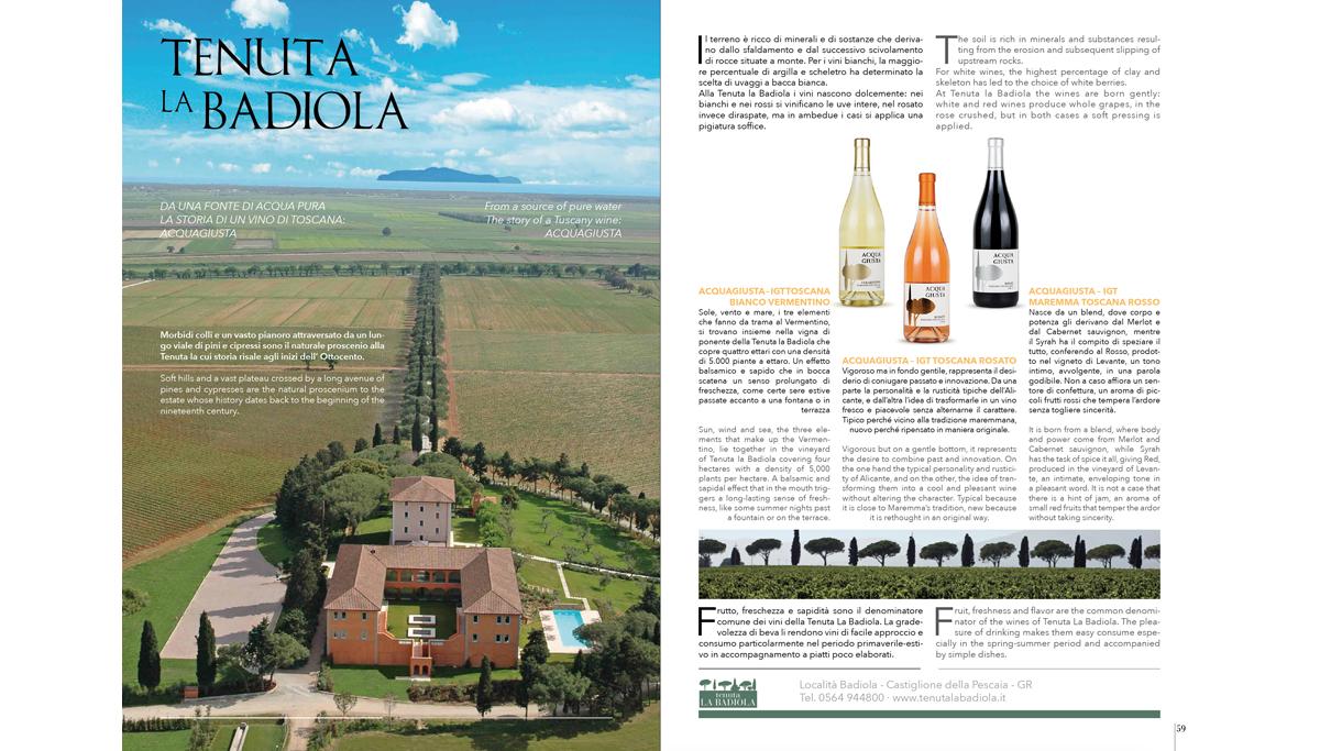 grafica rivista per cliente la Tenuta la Badiola cliente in Toscana