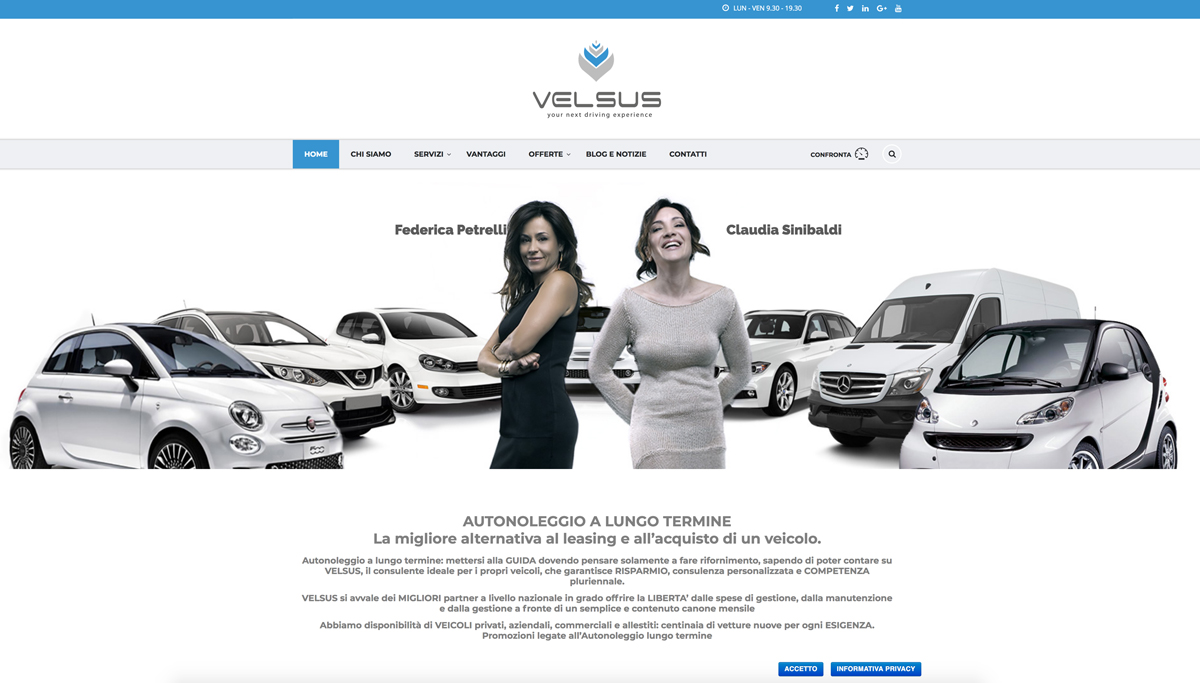 sito web e posizionamento sui motori di ricerca per cliente Velsus Lazio