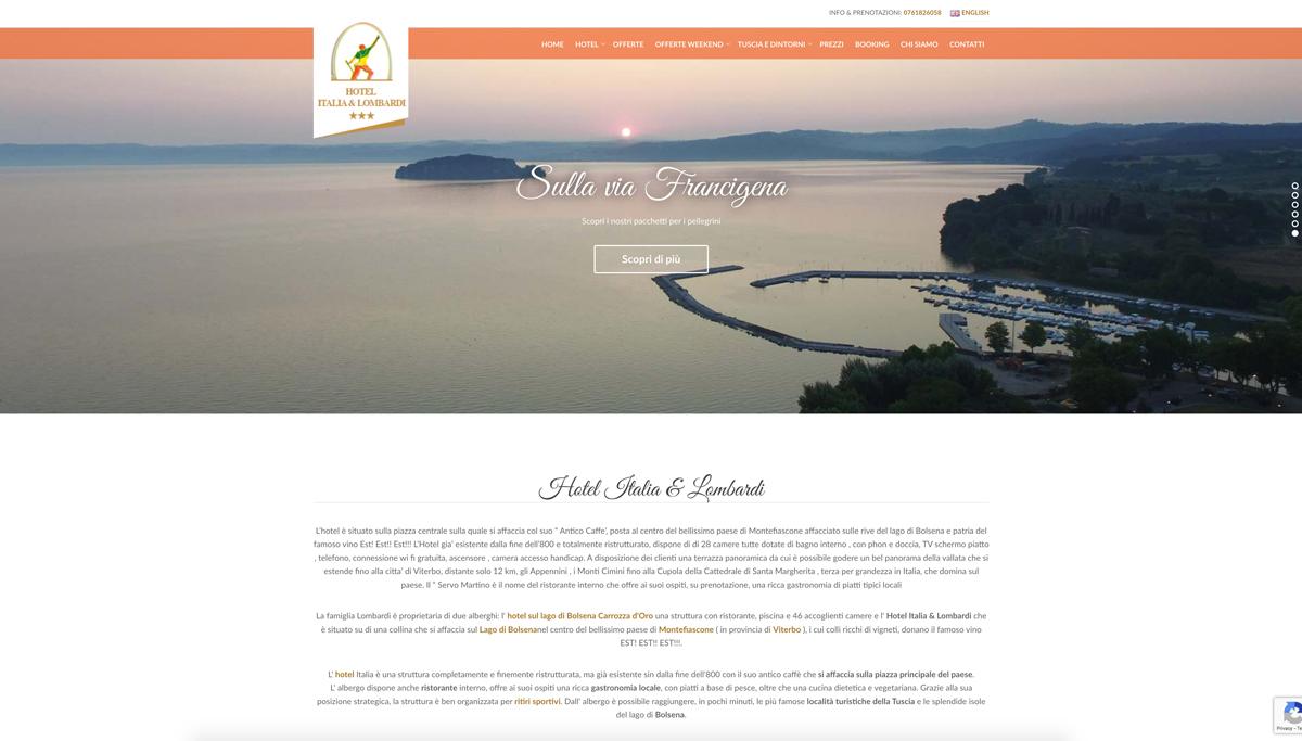 Grafica e realizzazione sito internet Lombardi Hotel Viterbo Lazio