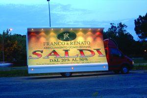 vela pubblicitaria a noleggio con autista per cliente Franco & Renato